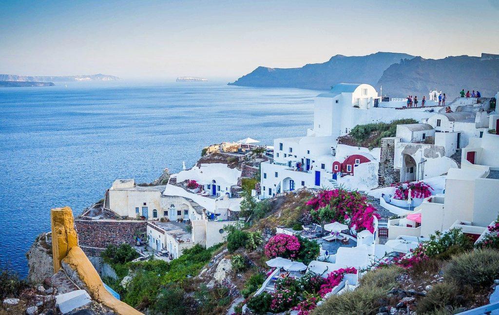 תמוה רקע מיוון עם נוף לים